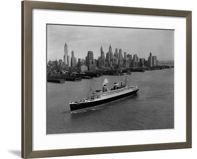 S.S. Washington on the Hudson River--Framed Photographic Print