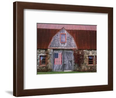 Flag Hanging on Barn Door-Owaki - Kulla-Framed Photographic Print