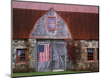 Flag Hanging on Barn Door-Owaki - Kulla-Mounted Photographic Print