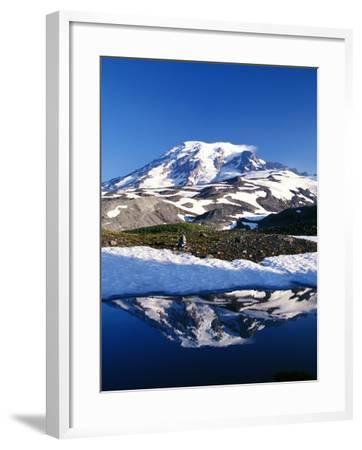 Alpine Lake Reflecting Mt. Rainier-Craig Tuttle-Framed Photographic Print