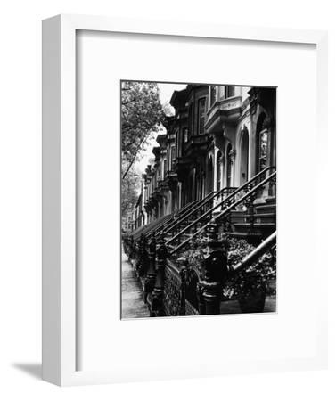 Stoops on 19th Century Brooklyn Row Houses-Karen Tweedy-Holmes-Framed Photographic Print