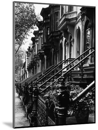 Stoops on 19th Century Brooklyn Row Houses-Karen Tweedy-Holmes-Mounted Photographic Print