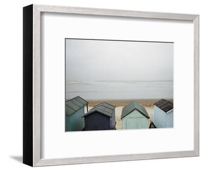 Cabanas on Empty Beach--Framed Photographic Print