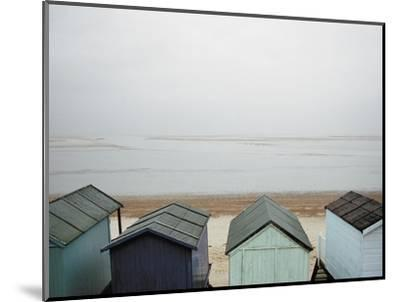 Cabanas on Empty Beach--Mounted Photographic Print
