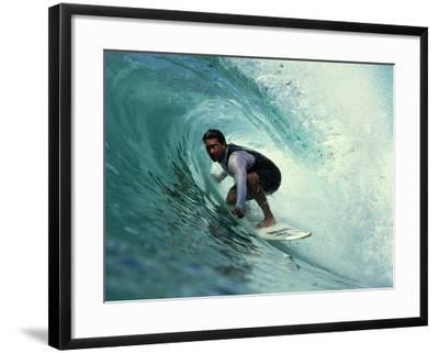 Professional Surfer Riding a Wave-Rick Doyle-Framed Photographic Print