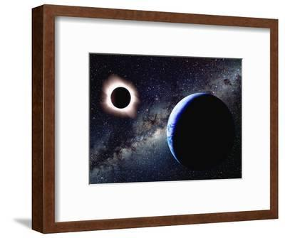 Earth and Total Eclipse Seen from Space-Roger Ressmeyer-Framed Photographic Print