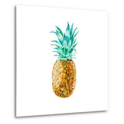 Low Poly Watercolor Pineapple- lidiapuica-Metal Print