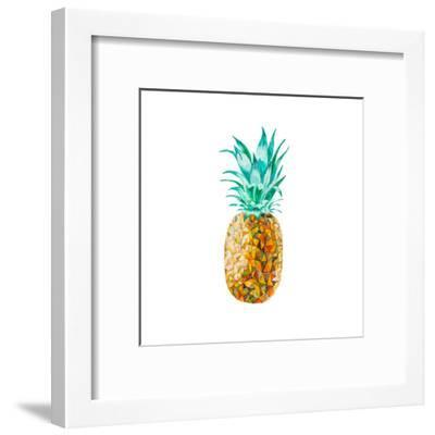 Low Poly Watercolor Pineapple- lidiapuica-Framed Art Print