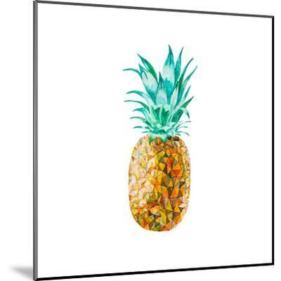 Low Poly Watercolor Pineapple- lidiapuica-Mounted Art Print