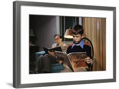 Father and Son Reading at Home-William P^ Gottlieb-Framed Photographic Print