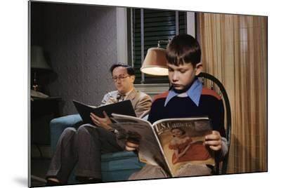 Father and Son Reading at Home-William P^ Gottlieb-Mounted Photographic Print