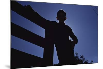 Silhouette of Boy Leaning Against Fence-William P^ Gottlieb-Mounted Photographic Print