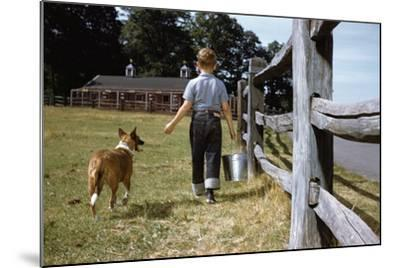 Boy and His Dog Walking Along a Fence-William P^ Gottlieb-Mounted Photographic Print