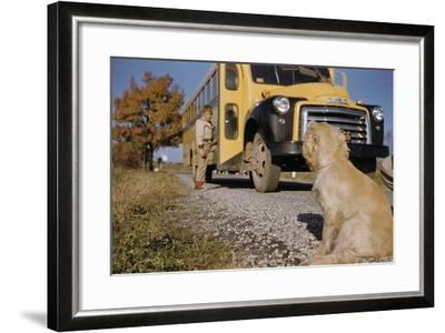 Faithful Dog Watching Boy Enter School Bus-William P^ Gottlieb-Framed Photographic Print
