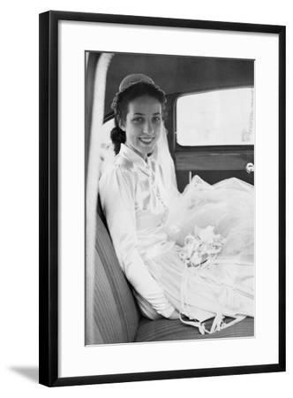 Bride in the Backseat of Car, Ca. 1950--Framed Photographic Print