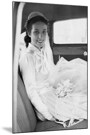 Bride in the Backseat of Car, Ca. 1950--Mounted Photographic Print