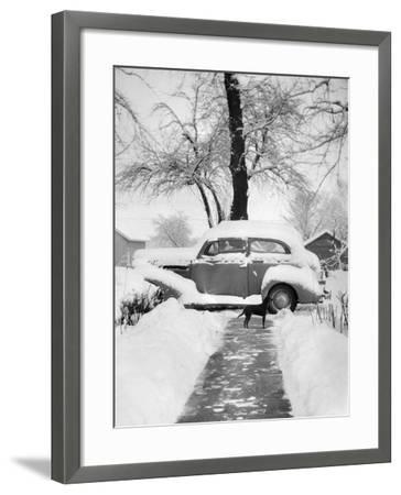 Snowy Scene in Illinois, Ca. 1940--Framed Photographic Print