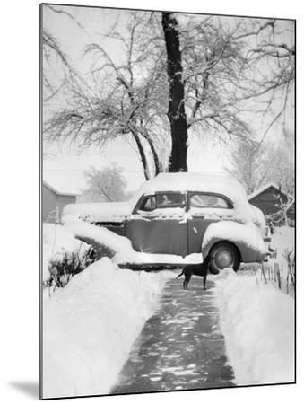 Snowy Scene in Illinois, Ca. 1940--Mounted Photographic Print