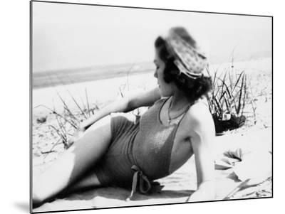Young Woman at the Beach, Ca. 1938--Mounted Photographic Print