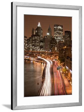 Brooklyn Bridge and Manhattan Skyline, New York City-Paul Souders-Framed Photographic Print