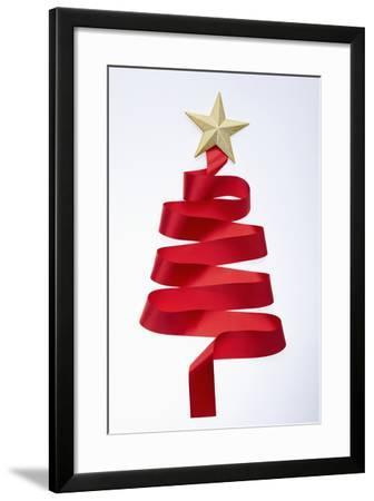 The Tree Shaped Red Tie and Gold Star--Framed Photographic Print