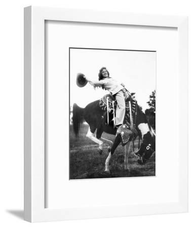 Young Woman on Phony Pony, Ca. 1940--Framed Photographic Print