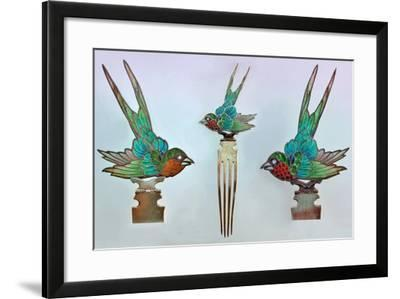 British Arts and Crafts Hair Combs with Swallows--Framed Photographic Print