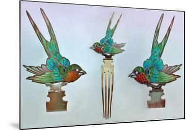 British Arts and Crafts Hair Combs with Swallows--Mounted Photographic Print