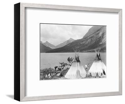 Teepee,Indians on Shore of Lake-Philip Gendreau-Framed Photographic Print