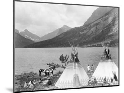 Teepee,Indians on Shore of Lake-Philip Gendreau-Mounted Photographic Print
