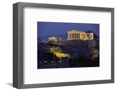 Parthenon Illuminated at Dusk-Paul Souders-Framed Photographic Print