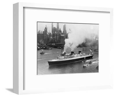 SS Normandie in New York Harbor--Framed Photographic Print