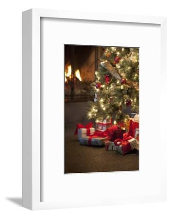 Christmas Tree by Fireplace--Framed Photographic Print