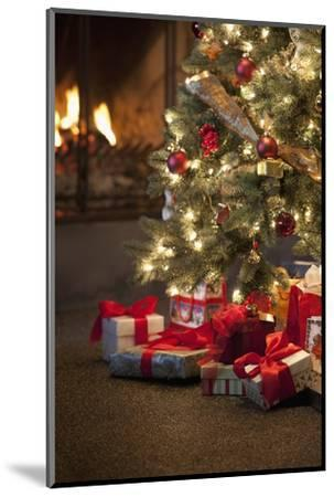 Christmas Tree by Fireplace--Mounted Photographic Print