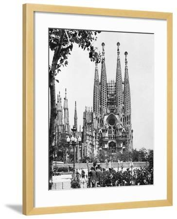 The Cathedral of the Sagrada Familia in Barcelona, 1939--Framed Photographic Print