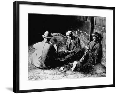 Vagrants Playing Cards in Railroad Car--Framed Photographic Print