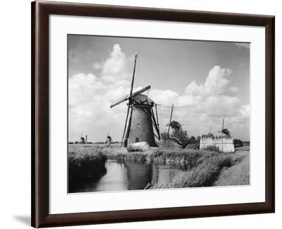 Canalside Windmills--Framed Photographic Print