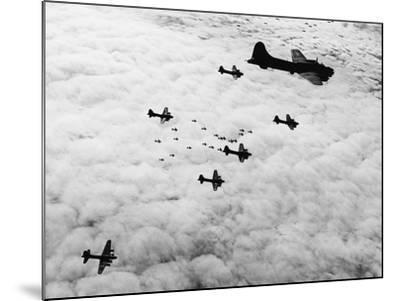 Flying Fortresses in Flight over Germany--Mounted Photographic Print