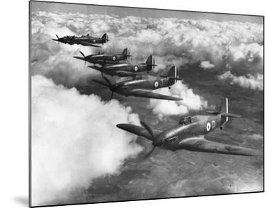Hawker Hurricanes in Flight--Mounted Photographic Print