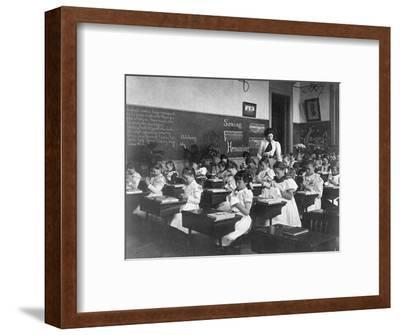 Elementary School Girls Learning Sewing--Framed Photographic Print