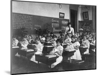 Elementary School Girls Learning Sewing--Mounted Photographic Print