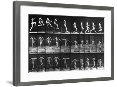 Nude Woman Hurdling--Framed Photographic Print