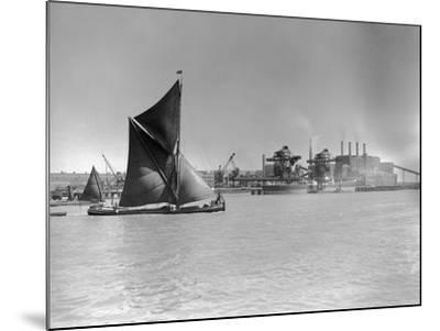 Sailboat Passes Ford Motor Works--Mounted Photographic Print