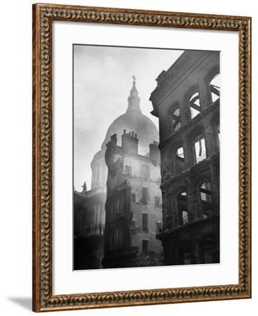 Saint Paul's Cathedral Admist Ruins--Framed Photographic Print