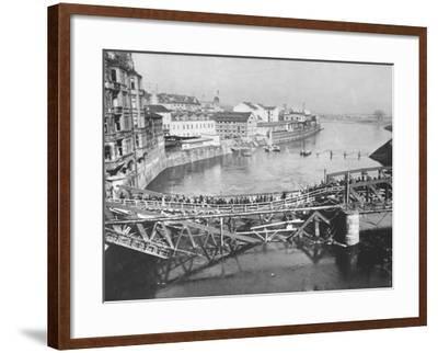 Temporary Bridge at Poznan, Poland, 1939--Framed Photographic Print