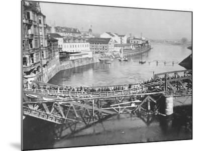 Temporary Bridge at Poznan, Poland, 1939--Mounted Photographic Print