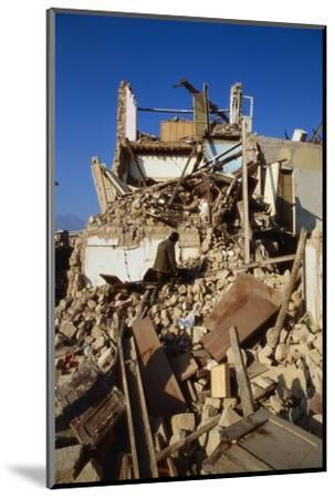 Building Destroyed by Earhquake--Mounted Photographic Print