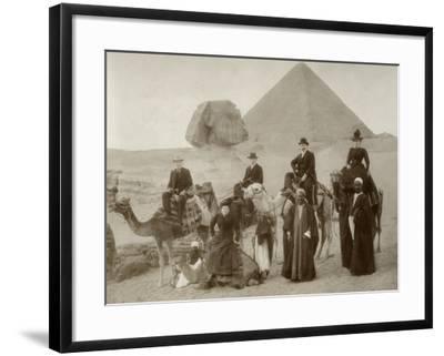 British Tourist Visiting the Pyramids of Giza--Framed Photographic Print