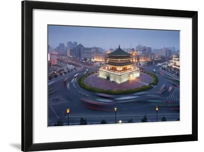 Bell Tower in Middle of Traffic Circle-Paul Souders-Framed Photographic Print