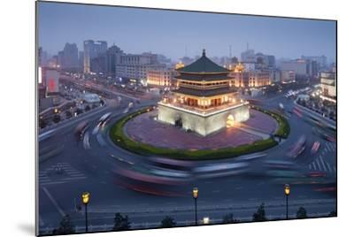 Bell Tower in Middle of Traffic Circle-Paul Souders-Mounted Photographic Print
